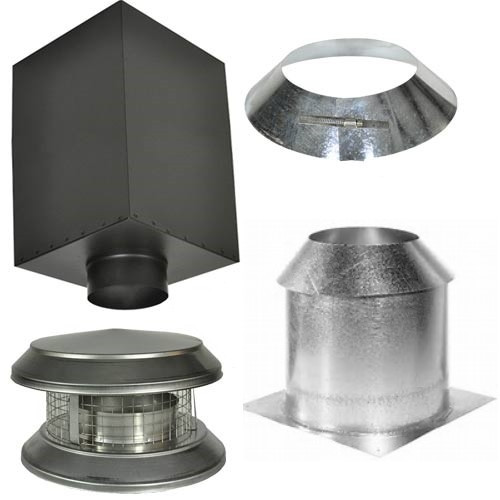 Cathedral Ceiling Support Kit includes Support Box, Flashing, Insulation Shield, Cap and Storm Collar