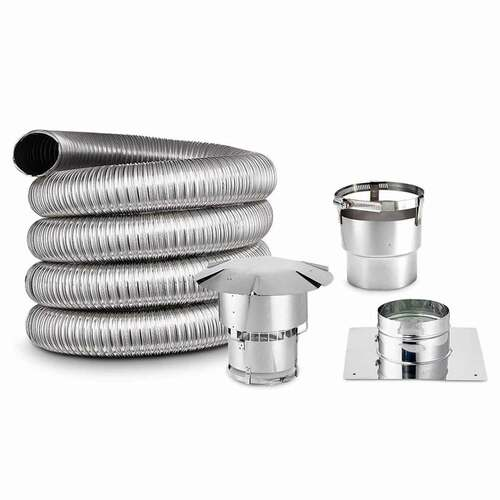 6'' x 35' DIY Chimney Smooth-Wall Liner Kit with Stove Adapter