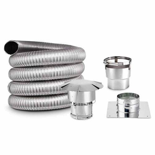 3'' x 25' DIY Chimney Single-Wall Liner Kit with Stove Adapter