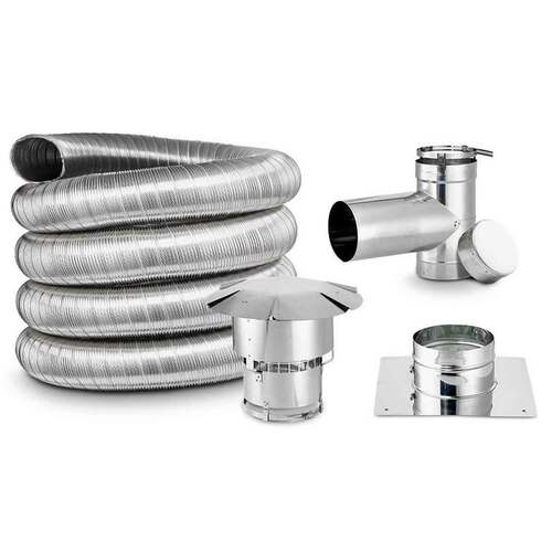 5 1/2'' x 25' DIY Chimney Single-Wall Liner Kit with Tee