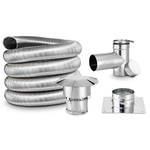 5 1/2' x 35' DIY Chimney Single-Wall Liner Kit with Tee