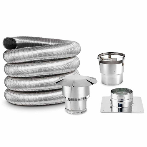 7'' x 25' DIY Chimney Single-Wall Liner Kit with Stove Adapter