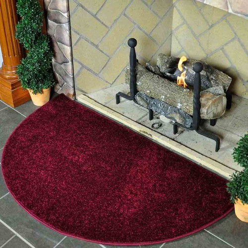 Flame 4' Half Round Polyester Fireplace Rug - Crimson