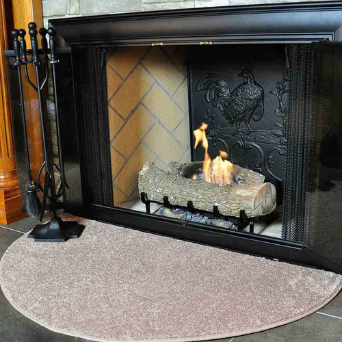 Flame 4' Half Round Fireplace Rug- Light Hickory