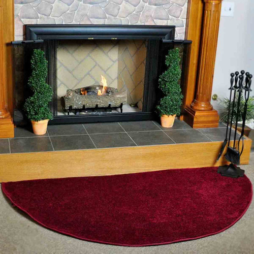 Canyon Polyester 6' Half Round Hearth Rug - Crimson