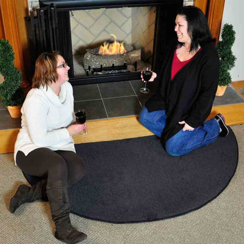 Canyon Polyester 6' Half Round Hearth Rug - Black