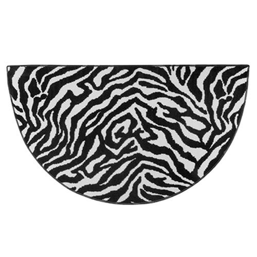 4' Half Round Zebra Print Hearth Rug