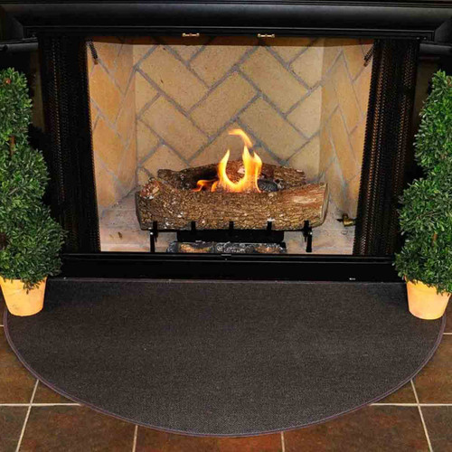 4' Half Round Charcoal Guardian Fireplace Rug