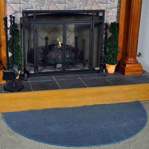 5' Half Round Blue Guardian Fireplace Rug