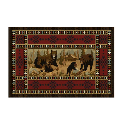 "50"" High Country Bear's At Cabin Rectangle Hearth Rug - 11050"