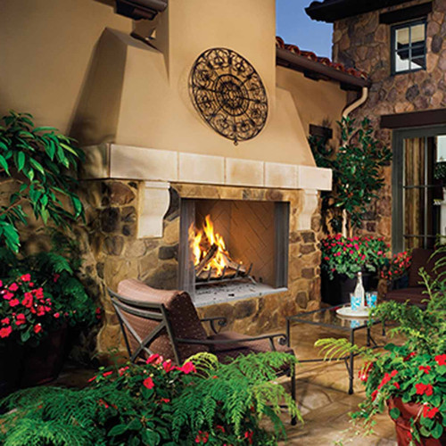 50'' Superior WRE45 Outdoor Woodburning Fireplace with White Herringbone Brick