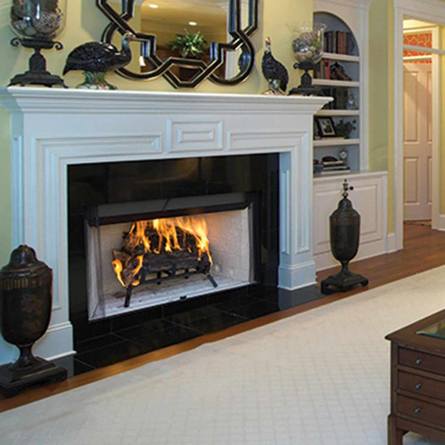 42'' Superior Louvered 3000 Woodburning Fireplace-White Stacked Panels
