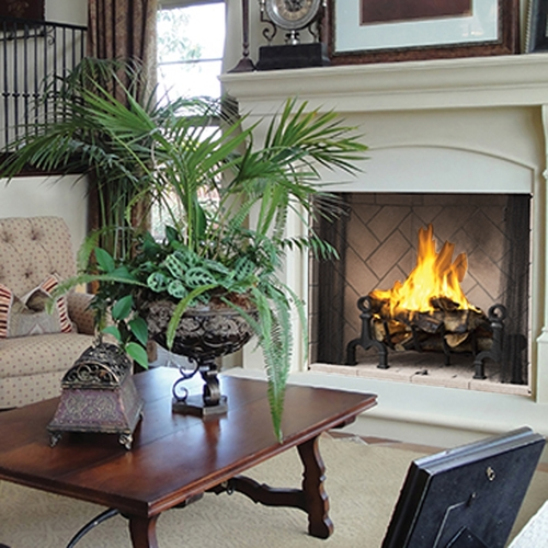 """42"""" Superior Masonry Wood Burning Fireplace with Ivory Herringbone"""