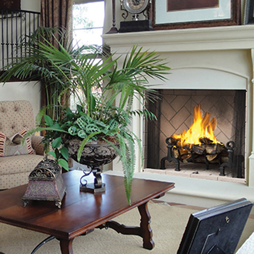 "42"" Superior Masonry Wood Burning Fireplace with Ivory Herringbone"