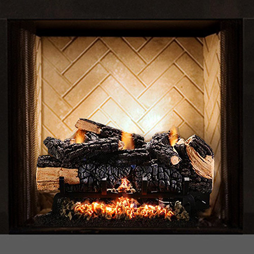 24'' Cumberland Charred Gas Log Set w/Manual Valve - LP