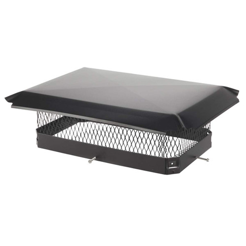 13'' x 21'' Black Galvanized Oval Single Flue Chimney Cap-5/8'' Mesh