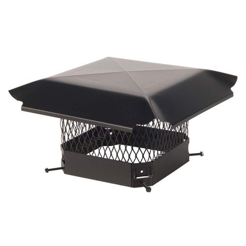9'' x 9'' Black Galvanized Single Flue Chimney Cap - 5/8'' Mesh
