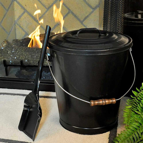 Black Fireplace Ash Container and Shovel Set