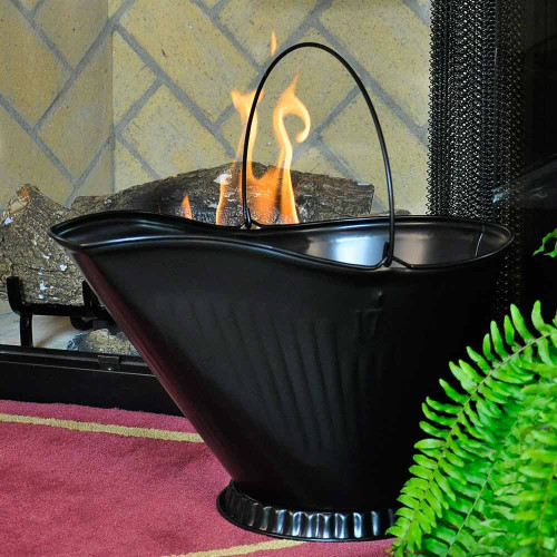 Black Fireplace Coal Hod with Wire Handle