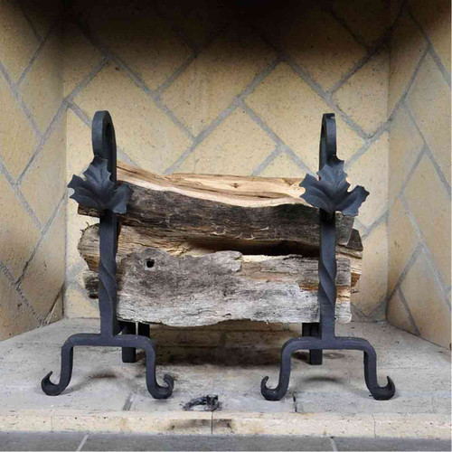 Maple Leaf Fireplace Andirons