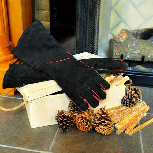 """Fireplace Gloves 20"""" length Protects Hands and Forearm"""