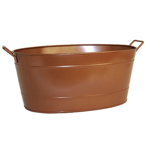 Oval Copper Tub with Copper Handles