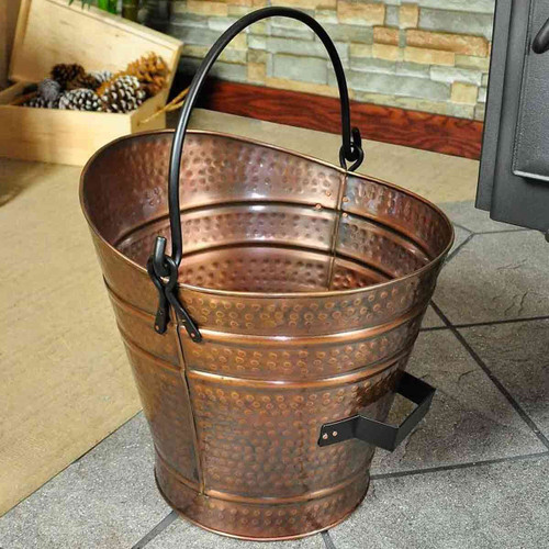 14'' Coal Hod/Pellet Bucket - Copper Powdercoat Finish