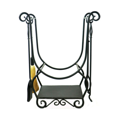 Minuteman Country Wrought Iron Log Holder with Tools - Graphite