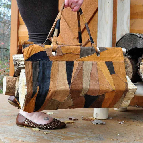 Open End Suede Patchwork Log Carrier