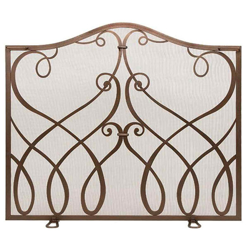 Cypher Collection Small Flat Fireplace Screen-Roman Bronze Powdercoat