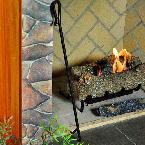 Shepherd's Hook Fireplace Poker - 28'' Long-Black Powdercoat