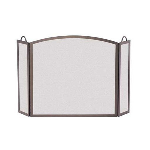 Pilgrim Full Arch Three Panel Fireplace Screen - Burnished Bronze 46'' Wide