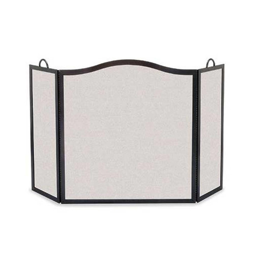 Pilgrim Camelback Arch Three Panel Fireplace Screen - Matte Black 54'' Wide