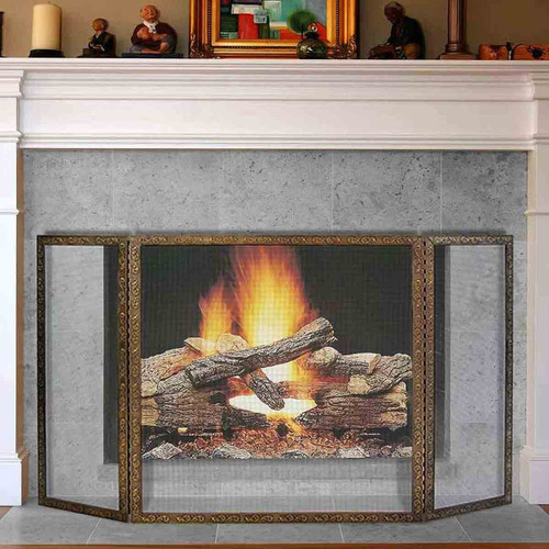 Pilgrim 50'' x 30'' Antique Brass Bay Branch Embossed Tri-Panel Fireplace Screen