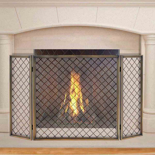 Pilgrim 50'' x 30'' Antique Brass Hartwick Tri-Panel Fireplace Screen