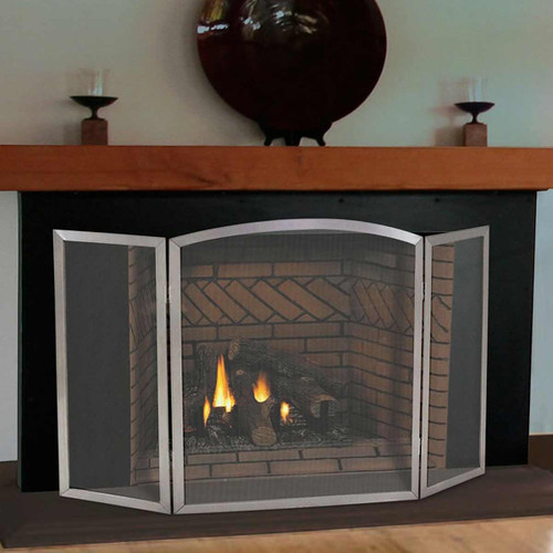 Pilgrim 54'' x 30'' Stainless Steel Newport Tri-Panel Fireplace Screen