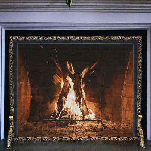 Pilgrim 39'' x 31'' Antique Brass Bay Branch Embossed Fireplace Screen