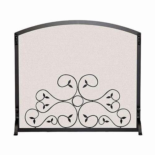 Pilgrim Applique Scroll Fireplace Screen - Matte Black 44'' x 34.25''