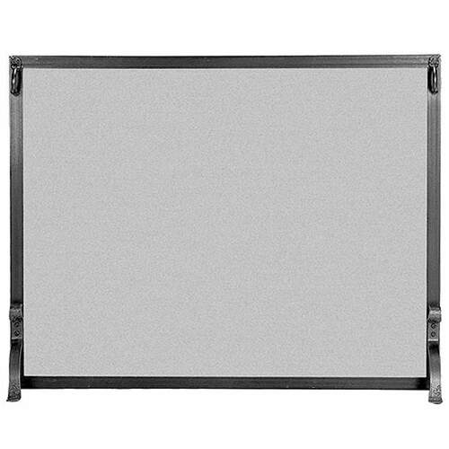 Pilgrim Forged Iron Fireplace Screen - Matte Black 39'' x 31''