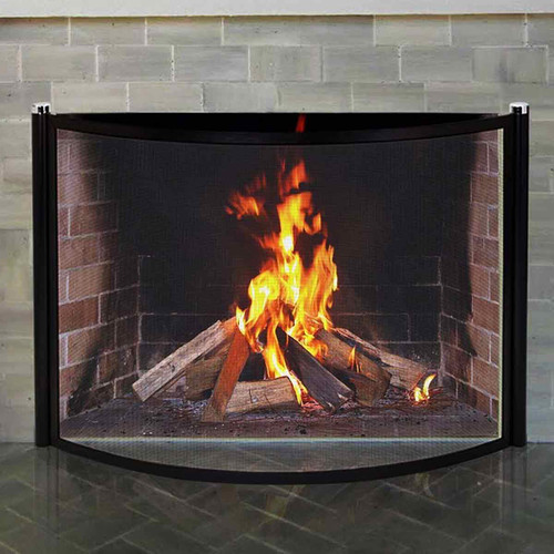 Pilgrim 44'' x 31'' Black and Polished Nickel Metro Bowed Fireplace Screen