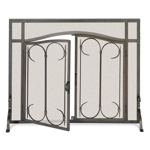 Pilgrim Iron Gate Fireplace Screen w/ Arched Doors - Burnished Black 39'' x 31''