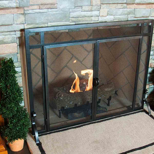 Pilgrim Vintage Forged Iron Fireplace Screen with Doors - 39'' W x 31'' H