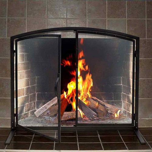 Pilgrim 39'' x 32'' Shadow Iron Fireplace Screen with Operable Doors
