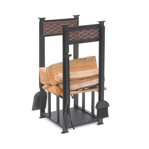 Pilgrim Matte Black Basket Weave 4 Piece Fireplace Wood Holder and Tool Set