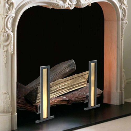Antique Brass and Black Grand Tower Fireplace Andirons