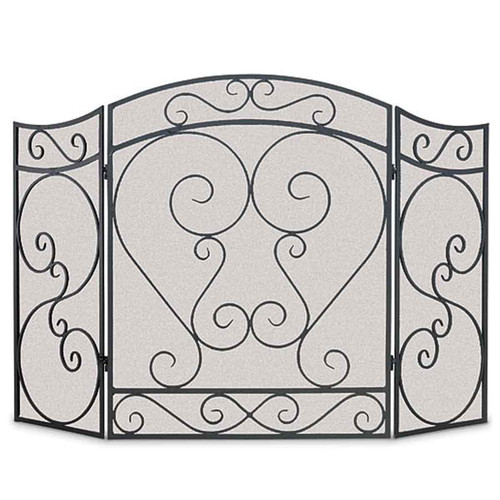 Pilgrim Country Scroll Folding Fireplace Screen - Black