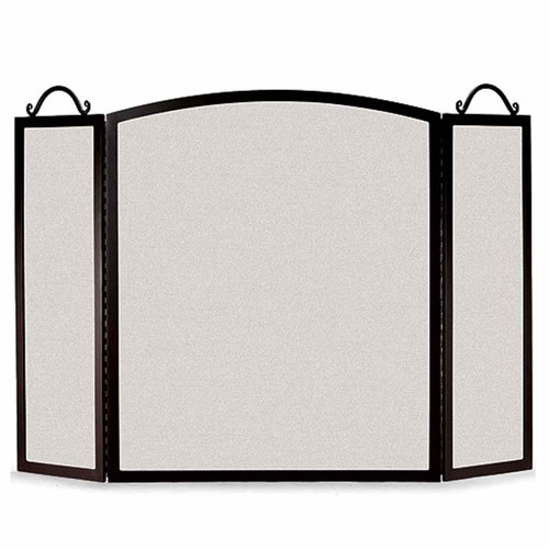 Pilgrim Small Traditional Arch Three Panel Fireplace Screen - Black