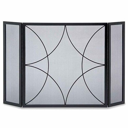 Pilgrim Forged Diamond Tri Panel Fireplace Screen - Black