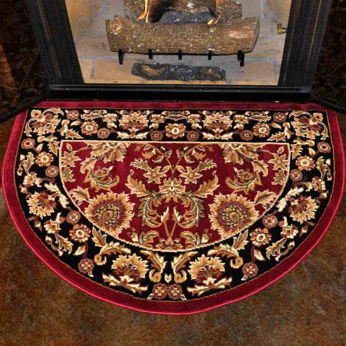 46'' Half Round Red and Black Kashan Hearth Rug