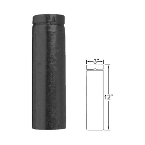 3'' x 12'' Adjustable Length Selkirk VP Pellet Vent Pipe - Black - 3VP-EZAJ12B